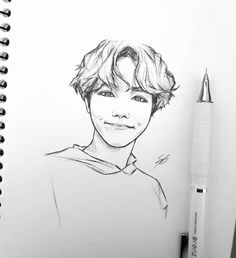 So I was going to draw something serious for his b-day but then I ran out of time and this happened 👀 happy birthday ! Kpop Drawings, Pencil Art Drawings, Art Drawings Sketches, Sketch Drawing, Fanart Bts, Arte Sketchbook, What To Draw, Bts Chibi, Bts Wallpaper