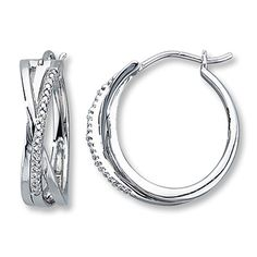 Diamond Hoop Earrings Round-Cut  Sterling Silver