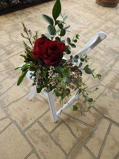 Chair posies set the scene for the wedding roses flowers flowers Pew Flowers, Wedding Flowers, South Coast Nsw, Special Day, Red Roses, Wedding Ceremony, Backdrops, Scene, Chair