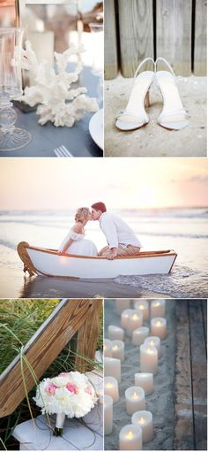 Not really into the idea of a beach wedding, but I love that little boat and all the candles. Maybe a beach proposal.