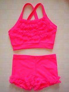 Lexi Luu Designs Dance Gymnastics Ruffle Leg Short Set Pink Long Top Option | eBay