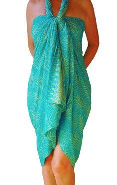 ee51da760fb PLUS SIZE Clothing Womens Sarong Wrap Skirt or Dress - Aqua Green   Creamy  White Sea Anemone Beach Sarong Pareo Batik Sarong - Plus Swimwear
