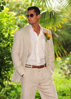 Delave' Linen Suit: Only at Justlinen you will find the best linen clothing for your destination wedding or caribbean getaway.  $259 in stock