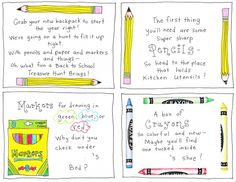 Cute school supply scavenger hunt for first time student! Back To School Printables Back To School Party, 1st Day Of School, Beginning Of School, School Fun, School Teacher, School Days, Starting School, School Stuff, School Starts