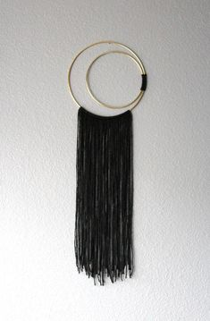 - Waning / Waxing Crescent Moon Double Hoop Dreamcatcher Small Black Macrame Bed Room Decor Measurements: Circular Hoop: 8 / cm Total Height: 25 / cm One of a kind item. Vegan: No animal or animal bi-products are used. Yarn Wall Art, Yarn Wall Hanging, Diy Wall Art, Diy Art, String Wall Art, Art Crafts, Wall Hangings, Fibre, Fiber Art