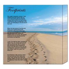 "Footprints Poem Printable Version | Footprints in the Sand Poem -12"" x 12"" Canvas Frame"