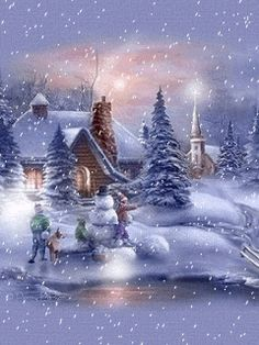 Animated snow falling winter scene building snowman