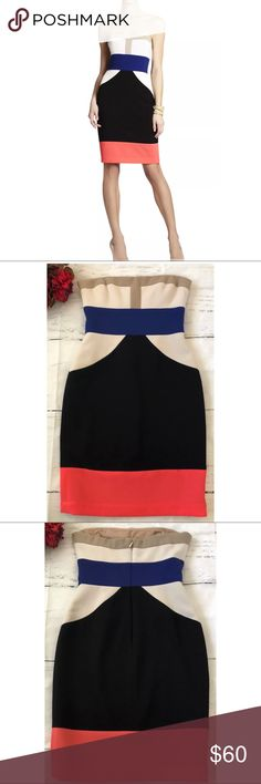 "BCBG Reece Strapless Colorblock Dress ~Size 4~ BCBG Reece Strapless Colorblock Dress ~Size 4~   Measures Approximately: total length 30"" bust across 15.25""  Item condition/notes: Great condition! BCBGMaxAzria Dresses Strapless"
