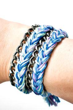 DIY Jewelry DIY Bracelet DIY Braided Thread and Chain Wrap Bracelet