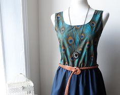 Peacock Feather Dress / Beautiful Teal Peacock Navy Blue Contrast Dress / Peacock Dress...
