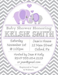 super cute inexpensive purple and grey invitations personalize your own baby shower