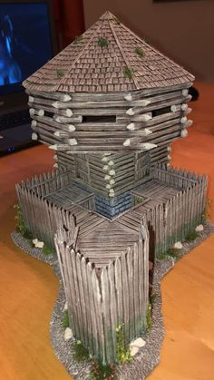 """The Fort"" - not by Bernard Cornwell, but by Mike Spanuth Warhammer 40k Tabletop, Warhammer Terrain, Bushcraft, Forte Apache, Model Castle, Stone Fountains, Game Terrain, Medieval Houses, Wargaming Terrain"