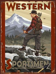 Western Sportsmen Bow Hunter Vintage Tin Sign- Western Sportsmen Bow Hunter Vintage Tin Sign Western Sportsmen Bow Hunter Vintage Tin Sign Our tin and metals signs are top quality hand silk screened works of art manufactured by a small team of dedica