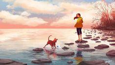 personal illustrations and paintings by yaoyao ma van as Cartoon Dog, Cartoon Drawings, Art Drawings, Dark Souls, Dark Fantasy, Fantasy Art, Alone Art, Amor Animal, Dog Illustration