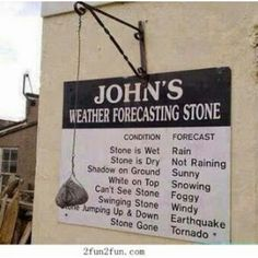 This is hilarious .... John's weather forecasting stone *******************************************