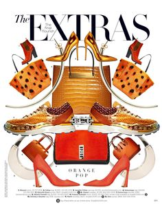 The #extras #harpersbazaar August 2014 #orange #red #celine #missoni #chanel #balenciaga #Harpersbazaar #august #orange #reds #golds #orangepop #pumps