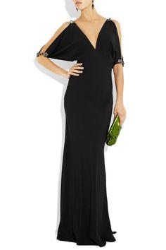 Ralph Lauren Collection Jacinda Crystal-embellished black crepe gown