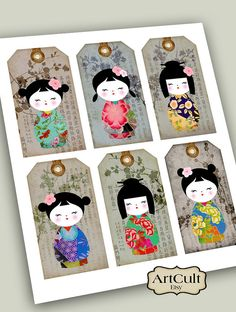 Printable Download KOKESHI GIFT TAGS traditional dolls by ArtCult