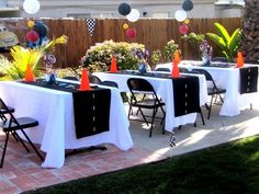 Disney Cars birthday outdoor party space. See more birthday parties for kids at www.one-stop-party-ideas.com