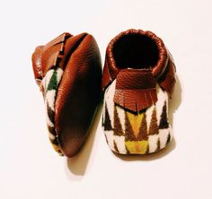 Pendleton baby/toddler moccasins brown leather on Etsy, $32.00