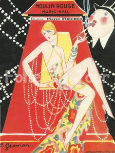 Sexy Erotic Girl sitting on the Moulin Rouge French cancan - NEW French Poster Paris cabaret by Charles Gesmar Poster Art, Retro Poster, Kunst Poster, Art Deco Posters, Vintage French Posters, Vintage Travel Posters, French Vintage, Art Deco Illustration, Vintage Illustrations