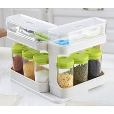 6 in 1 High Quality Seasoning Cans Set Spice Pepper Salt Cans Box Container Toothpick Holder Kitchen Tools Gadget Accessories