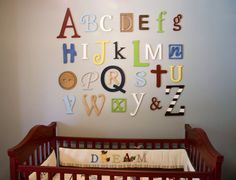 Wooden Alphabet Letters Set, PAINTED, Wall Hanging, Nursery Decor, Alphabet Wall, ABC Wall,  6 to 12