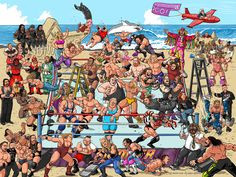 Summerslam print featuring a ton of current and classic Superstars