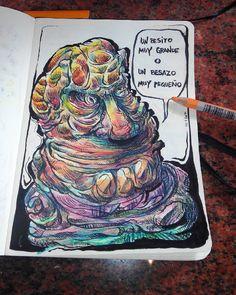 Sr beso. Tinta, rotulador y lápices de colores.