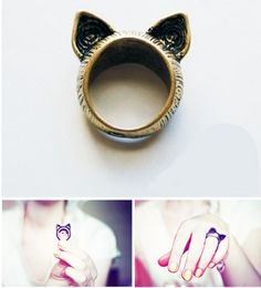This ring is too cute! Let adorable little cat ears adorn your finger.    Internal diameter 17.5cm  Material: Bronze
