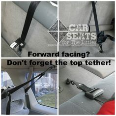Don't forget the top tether for a forward facing harnessed car seat! www.carseatsforthelittles.org