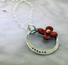XOXOXO Necklace   red enamel and sterling by KathrynRiechert, $42.00