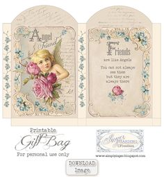 "FREEBIE printable ""Friends are like angels"" gift bag by Inger Harding / Simply Inger"