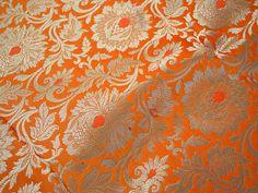 Indian Silk Brocade Fabric, Banarasi Silk Brocade Fabric by the Yard, Benares Brocade Silk Orange Gold Weaving for Wedding Dress Gold Fabric, Ikat Fabric, Brocade Fabric, Jacquard Fabric, Yard Wedding, Wedding Dress, Lehenga Blouse, Wedding Fabric, Bridal Fabric