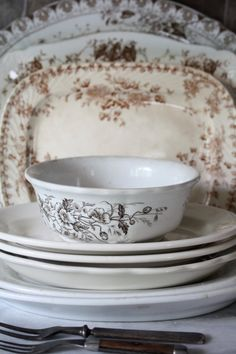 brown transferware....they are classic