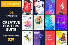 106 in 1 Poster Templates Suite by Amber Graphics on @creativemarket