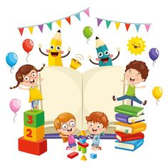 Illustration Of School Elements banner celebration cartoon character kids d Cartoon Memes, Cartoon Kids, Cartoon Art, Cartoon Characters, School Cartoon, Kids Background, Background Banner, Vector Background, School Frame