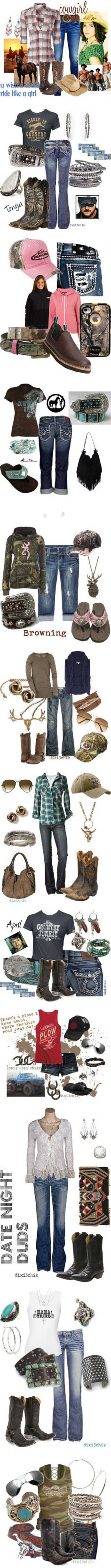 """Country Baby"" by cassie-88 ❤ liked on Polyvore I would wear some of these outfits"