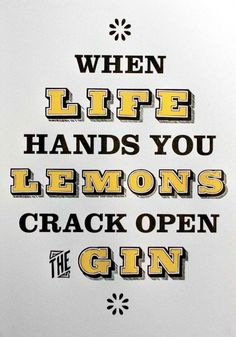 Such wise, wise words. When Life Hands You Lemons, Crack Open the Gin Tom Collins, Whisky, Gin Quotes, Gin Tasting, Gin Bar, Wall Stickers Quotes, Gin Lovers, Lemon Print, Word Up