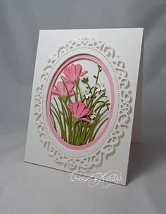 handmade card: Pink Wildflowers by DandI93 ... all die cuts ... oval frame with lacy cut-outs and piercing ... wildflowers and grasses ... beautiful card!