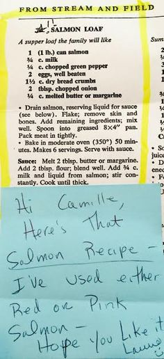 Salmon Loaf recipe from my cousin Laurie