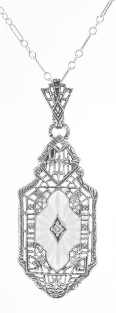 Sterling Silver Sunray Camphor Glass Filigree Pendant w/ Diamond - Free Shipping