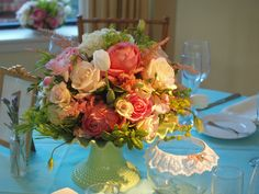 Marie Antoinette!! cake plates vintage green milk glass toped with pink antique David Austin roses, how sweet!!!