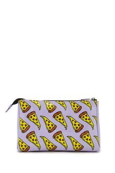 A makeup bag featuring an allover pizza print with heart-shaped pepperoni and a top zipper.