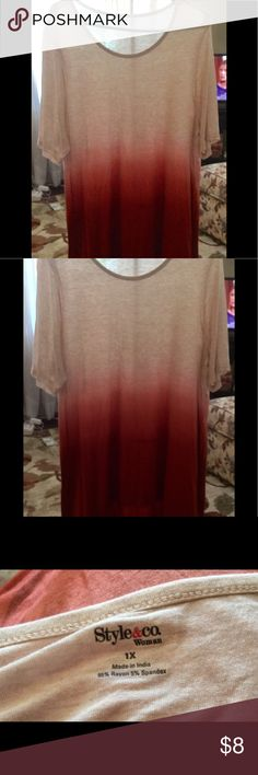 Style & Co Tunic Excellent condition.  No stains.  Rayon/spandex.  It's a cream/whitish/berry/burgundy Style & Co Tops Tunics