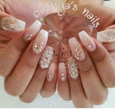 Babyboomer coffin nails with glitter and 3d flowers