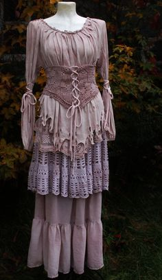 vintage fairy gypsy swirl long back pirate style romantic skirt in crochet lavender dusty rose handdyed lace and cotton. €139.00, via Etsy.