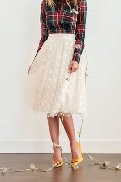 petite fashion blog, lace and locks, los angeles fashion blogger, polka dot tulle skirt, plaid shirt, bow heels, holiday outfit ideas, oc fashion blogger, holiday skirts for women, cute tulle skirts