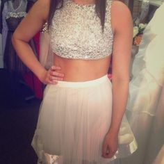 Two piece Prom or homecoming dress Copy of Terani. The top fits like a small. Bottom fits like a bigger small close Medium. Thanks for looking! Great price! Dresses Prom