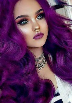 Dark Purple Hair, Violet Hair, Hair Color Purple, Cool Hair Color, Dark Hair, Bright Hair Colors, Hair Dye Colors, Beautiful Hair Color, Coloured Hair